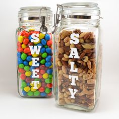 Get your sweet and salty snacking on in style with these DIY canisters that clearly label what you're going to munch on next!