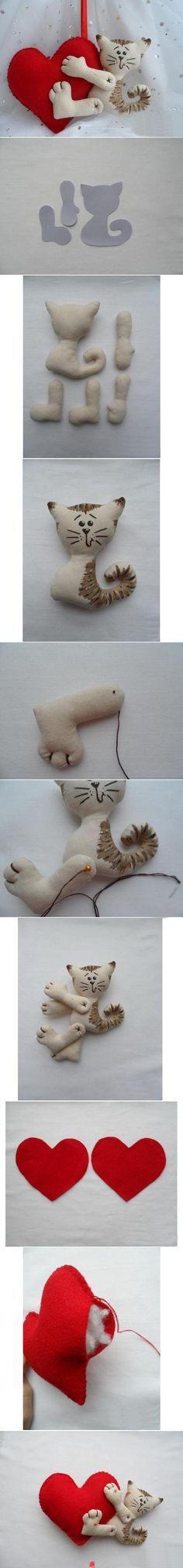 Felt cat hugging heart ornament (picture tutorial)