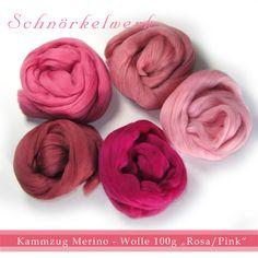 Kammzug Merino Filzwolle 5 Farben Mix Pink/Rosa... von Lealani / Schnörkelwerk auf DaWanda.com