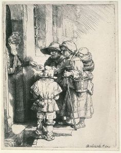 Beggars at the Door by Rembrandt #art