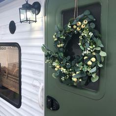 Did you know that you can use residential lighting on an RV as long as you use a 12V lightbulb? Residential Lighting, Exterior Doors, Autumn Home, Fixer Upper, Light Bulb, Rv, Floral Wreath, Decking, Trailers
