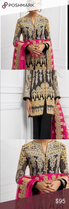 83a980ee7e Indian pAkistani Embroidered salwar kameez Unstitched chiffon fabric with  embroidered salwar kameez Dresses Wedding Chiffon Fabric. Poshmark