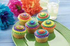 Bold color ribbons make these Cinco De Mayo Cupcakes the life of the party. Fiesta Cake, Mexican Fiesta Party, Fiesta Theme Party, Themed Cupcakes, Birthday Cupcakes, 3rd Birthday, Cupcake Party, Cupcake Cookies, Cupcake Shops