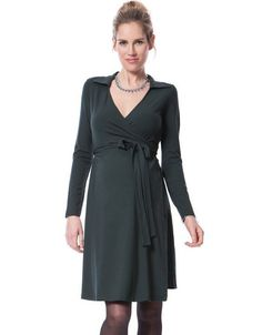 Offering classic styling and a flexible fit, our wrap maternity dress is a style staple for every mother's wardrobe. Made in our signature stretch jersey, the forest green dress drapes beautifully over your curves to finish just above the knee. Long sash ties secure the style at the empire waist, allowing you to adjust the fit as you grow, while the crossover v neckline allows easy access for nursing after baby is born. Smart, stylish and easy-to-wear, this gorgeous wrap dress for pregnancy…