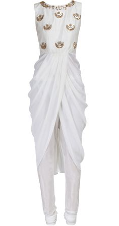 Ivory drape with churidar available only at Pernia's Pop-Up Shop.