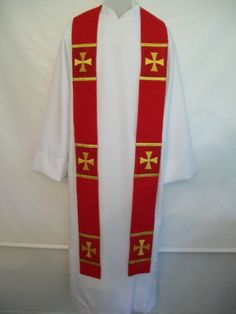 Clergy stole scarlet red for Lutheran by ManoftheClothLLC on Etsy, $183.81