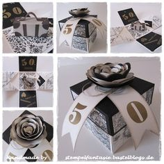 Explosion Box Golden Wedding Suitcase Initial Edition Black and White Travel Stampin`Up . Exploding Box Template, Exploding Gift Box, Upcycled Crafts, Diy And Crafts, Paper Crafts, Scrapbook Box, Scrapbooking, Card In A Box, Envelope Punch Board