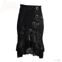 crow4show - black lace silver buckle goth gothic emo steampunk alternative style clothing womens skirt