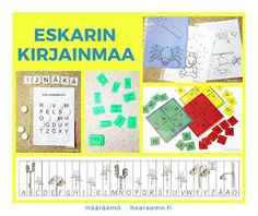 eskarin kirjainmaa, äidinkielen pistetyöskentely Learning Letters, My Job, Alphabet, Preschool, Education, Beginning Sounds, Alpha Bet, Kid Garden, Kindergarten