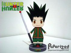 Gon Freecss is the primary protagonist of Hunter x Hunter, the son of Ging Freecss, and examiner #405 in the 287th Hunter Exam. Gon is a slim young boy who is relatively tall for his age with short greenish black spiky hair and big round eyes. He typically wears shorts, boots and a long-sleeved shirt with a mandarin collar or a sleeveless T-shirt. At times he also wore long pants when the situation required it, such as when he entered NGL. Papercraft designed and created by Paperized Crafts.
