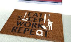 Eat Sleep Work Repeat Custom Doormat by Killer Doormats by KillerDoormats on Etsy
