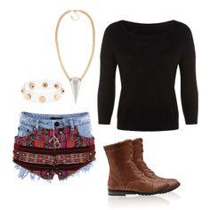 #aztec #patchwork #shorts #jumper #boots #boho http://www.tally-weijl.net/p/cardigans-pullover/schwarzer-flauschiger-pullover/spunybango-blk001?categoryId=26079