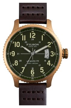 71b93acd722 The Mackinaw Field Watch by Filson green dial watch with green nylon strap  and stainless steel case boasts a classic cushion case design along with a  Swiss ...