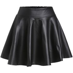 Black Faux Leather Elastic Waist Flare Skirt ($8.29) ❤ liked on Polyvore featuring skirts, mini skirts, mini skirt, circle skirts, leather look mini skirt, vegan leather mini skirt and flared mini skirt