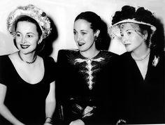 Olivia de Havilland, Dorothy Lamour and Joan Fontaine