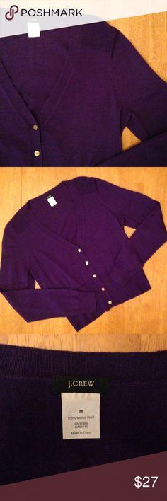 J.Crew Purple Cardigan J. Crew Purple v-neck Cardigan in medium. Gold buttons. 100% merino wool. Like new. No flaws. J. Crew Sweaters Cardigans