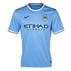 Manchester City switched from Puma to Nike for the newest rendition. Still a great look in the light blue.  www.soccercorner.com