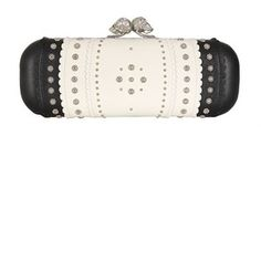 Alexander Mcqueen Beige And Black Studded Leather Skulls Box Clutch - montaignemarket.com Silver-tone metallic flowers studs. White crystals paved skulls fasteners. Composition: leather.