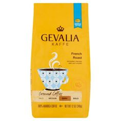 Gevalia Kaffe French Dark Roast Ground Coffee, 12 OZ (340g), 100% Arabica Coffee  Food Coffee Ground Coffee Wake up to the fresh aroma of this Gevalia French roast coffee. Product Features 100% Arabica coffee Full-bodied, intensely dark, and complex Kosher - P