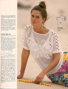 butterfly pullover with chart Crochet Jumper Pattern, Crochet Blouse, Top Pattern, Lace Patterns, Crochet Patterns, Knitting Patterns, Love Crochet, Crochet Lace, Crochet Humor