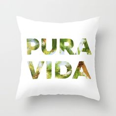 Pin for Later: These Decorative Pillows All Have 1 Thing in Common: Spanish!  Pura Vida Costa Rica Palm Trees Throw Pillow Cover With Pillow Insert ($27)