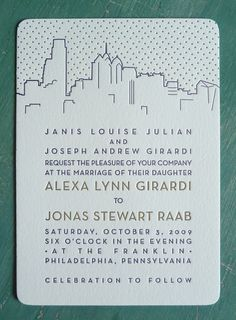 Philadelphia Skyline Wedding Invitation