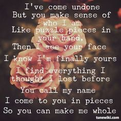 I come to you in pieces so you can make me whole- Pieces by Red