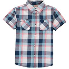 Smith's American Boys' Short-Sleeve Plaid Button-Down Top (10/12, Pink)