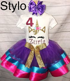 Colorful Unicorn Birthday Tutu Outfit