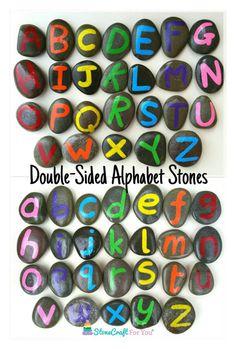 Double-Sided Alphabet Stones by StoneCraftForYou on Etsy