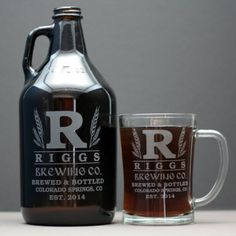 HomeBrew Growler and Glass/es with by GlassBlastedHomeBrew on Etsy, $40.00 #homebrew #etchedglass #custometchedglass #personalizedglass #brewgift #brewinggift #homebrewgift #homebrewglass #growler #mug #stein