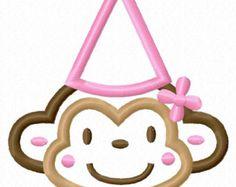 Digitizing Dolls Girly Birthday Girl Monkey Applique Machine Embroidery Design 2.5x2.5 4x4 5x7 6x10 Birthday Party Hat INSTANT DOWNLOAD