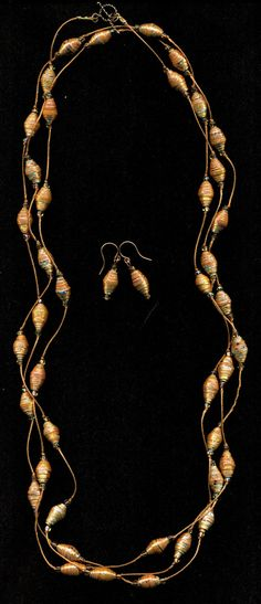 Metallic Copper, Gold, and Silver Paper Bead Hand Knotted Lariat  Necklace Set with Matching Earrings