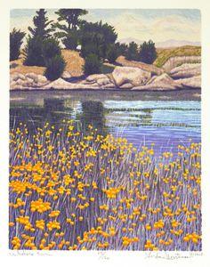 Whalers Cove by Gordon Louis Mortensen, reduction woodcut