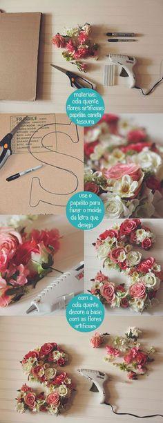 Como fazer letra de papelão com flores - blog como faz artesanato