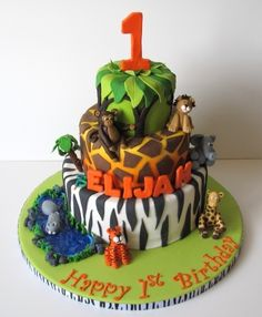 Another cute jungle cake. Gotta love the animal printed cakes.  ~ Jungle 1st Birthday Cake By bakerfairy on CakeCentral.com