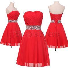 Sinple Dress Strapless Sparkle Red Short Prom Dresses/Homecoming Dresses/Party Dresses CHPD-7219