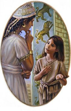 A servant girl talking to Naaman's wife- she wanted to help and did. Early Christian, Christian Art, Who Made God, Bible Illustrations, Bible Pictures, Biblical Art, Bible Teachings, Jehovah's Witnesses, Old Testament