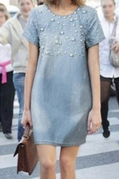 Stylish Scoop Neck Short Sleeve Beaded Denim Dress For Women Casual Dresses, Fashion Dresses, Short Sleeve Dresses, Summer Dresses, Denim Dresses, Dress Skirt, Dress Up, Jeans Dress, Alexa Chung Style