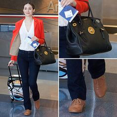 On her way out of LAX, Emmy Rossum showed us just what smart airport style looks like. She hit all the comfortable travel-wardrobe standbys — easy denim, Airport Attire, Airport Chic, Airport Style, Airport Fashion, Travel Packing Outfits, Packing Clothes, Hollywood Fashion, Hollywood Style, Travel Style