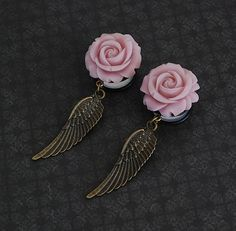 """Pretty Pink Rose and Wing Girly Gauges - 3/4"""", 7/8"""", 1"""" @Robinosaurus Rex.com"""