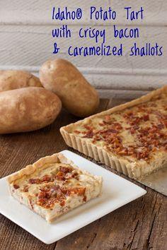 Idaho® Potato Tart with crispy bacon and caramelized shallots | Recipe Renovator | Gluten-free, dairy-free, vegan option