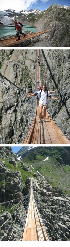 I want to go now please! Trift Bridge is one of the most spectacular pedestrian suspension bridges of the Alps. It is 100 meters high and 170 meters long, and is poised above the region of the Trift Glacier, Gadmen, central Switzerland Places Around The World, Oh The Places You'll Go, Places To Travel, Travel Destinations, Places To Visit, Around The Worlds, Dream Vacations, Vacation Spots, Voyager C'est Vivre