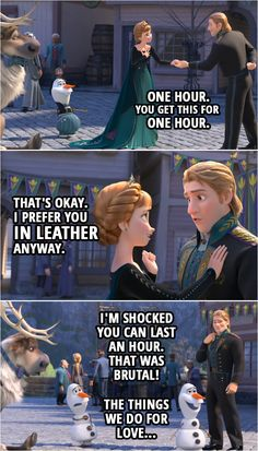 💬 Scroll through the collection of the best quotes from Frozen II. One liners, conversations, moments. Funny Frozen Quotes, Frozen Funny, Frozen Humor, Frozen Jokes, Frozen Frozen, Funny Disney Jokes, Disney Memes, Disney Quotes, Olaf Funny