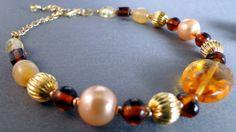 Cocoa and Caramel Set (Bracelet and Earrings set). $15.00, via Etsy.