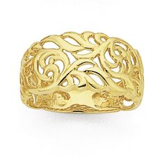 9ct Gold 10mm Wide Filigree Ring | Prouds The Jewellers