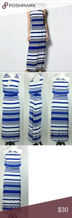 Milly key hole striped maxi dress size XS sailor Milly key hole striped maxi dress size XS sailor  Brand: milly for design nation Size XS No flaws  Very cute Elastic waist  Measurements lying flat  Pit to pit 17in Top to bottom 57in Waist 12in Milly Dresses Maxi