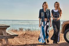 TWINSET Simona Barbieri, 2017 Summer collection with #EmilyRatajkowski and #SashaPivovarova: denim jacket, frilled top, long skirt, sandals, crocheted dress, T-shirt and sandals.