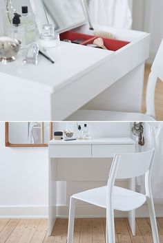 A BRIMNES dressing table features a built-in mirror and hidden storage to give you a clutter-free home for your jewellery and makeup. Small Makeup Vanities, Small Vanity, Small Bedroom Storage, Storage Spaces, Dressing Tables, Ikea Vanity, Clutter Free Home, Bedroom Night, Bedroom Decor