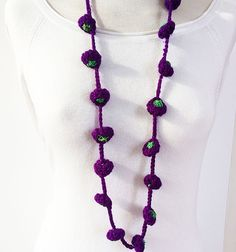 Wool  knitting long necklace   handmade by: Carla Amaro